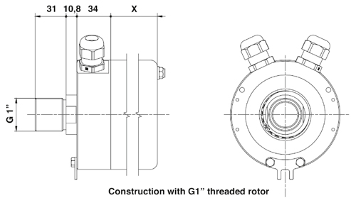 "Drawing SRH-11C construction with G1"" threaded rotor"
